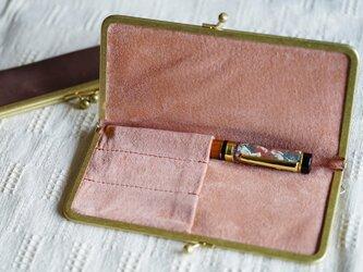 真鍮使いの口金ペンケース(3本用)/ブラウン×アッシュピンクの画像