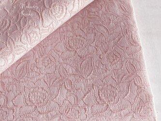 77x50 花柄 ピンク ジャガード織り はぎれ 生地の画像
