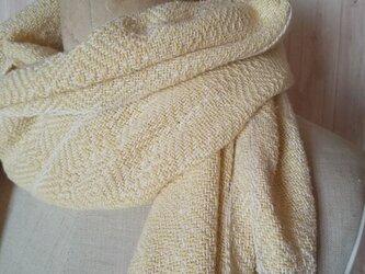 ミモザカラーの大人上品な手織りシルクコットンストールの画像