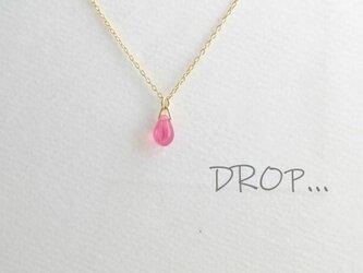d294-G145 マーブル ピンク しずく ドロップ ネックレスの画像