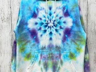 タイダイ染めフーディ プルオーバー パーカー 曼荼羅染め Lサイズ ブルー系 ムラ染め HD13-16の画像