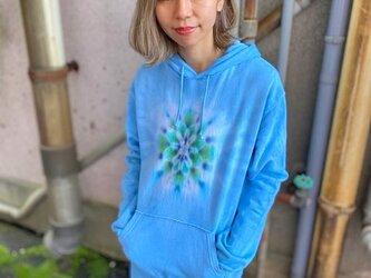 タイダイ染めフーディ  プルオーバー パーカー Hippies Dye最新作 曼荼羅染め Lサイズ ブルー HD13-30の画像