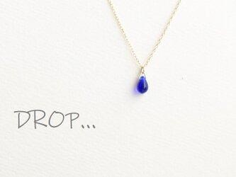 d303-G141 ミッドナイト ブルー しずく ドロップ ネックレスの画像