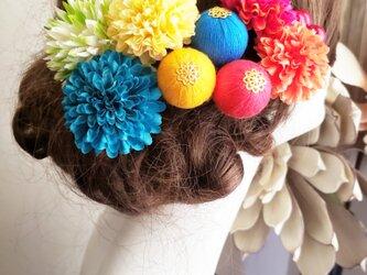 和風レトロ マムと和玉ボールの髪飾り9点set No783の画像