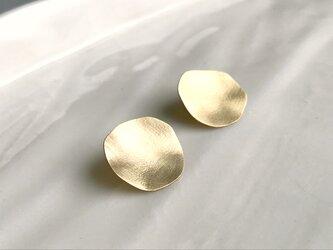 luna〜真鍮サークルスタッドピアスの画像
