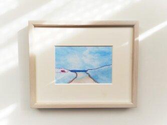 「海へ続く道」イラスト原画 ※木製額縁入りの画像