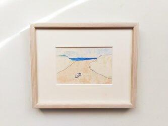 「海へ続く道2」イラスト原画 ※木製額縁入りの画像