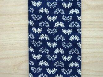 天然藍の型染め手拭い リボン蝶々の画像