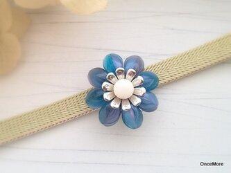 【現品限り】お花の帯留め(変わり咲き・ブルー)の画像