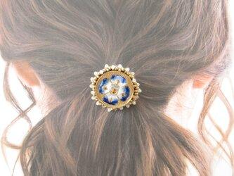 Hair accessory ヘアゴム ビーズ刺繍 チェコガラスボタン(K0997)の画像