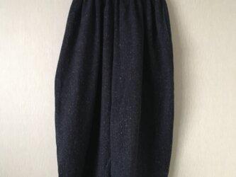 ミックス織り生地ゆったりサルエルボールパンツ 紺Fの画像