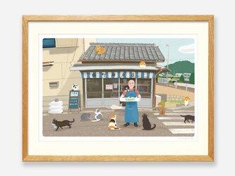 イラストフレーム(44.猫町の鮮魚店)の画像