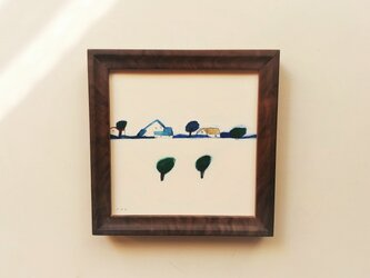 「風の強い日」イラスト原画 ※木製額縁入りの画像