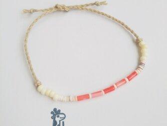 ピンク珊瑚とシェルのブレス&アンクレット(受注製作)(#844)の画像