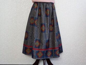 着物リメイク♪赤茶色のラインがポイント、大島紬モダンなスカート(裏地付き)丈78cmの画像