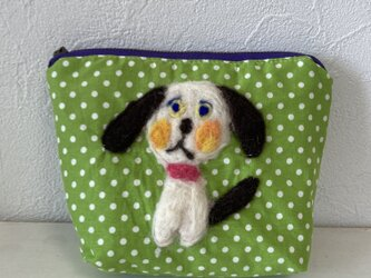 犬のポーチ 黄緑 Sの画像