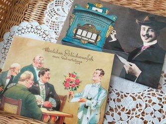 ドイツ製ポストカード【Germay】2枚セット(紳士の集い/紳士と郵便ポスト)の画像