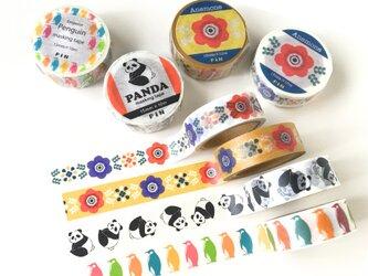 マスキングテープ 選べる2点セット -PiNオリジナルデザイン- (アネモネ・ペンギン・パンダ)の画像