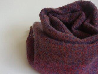 手織りカシミアマフラー・・レンガ色のワンストライプの画像