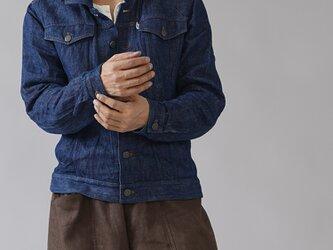 【Lサイズ】【wafu】厚地 リネンデニムジャケット男女兼用 リネンGジャン/インディゴ h051d-ind3の画像