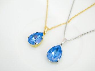 しずくサイズのスワロフスキークリスタルのネックレス オーシャンディライト*金具の色が選べますの画像