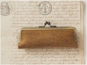 ■手紡ぎ、手織りシルク・リネンのがま口印鑑ケース 【Lサイズ】 / bc■ hanko case (L-gmi-bc)の画像