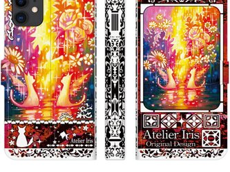 【Happy Flower】猫 油絵 iPhone 手帳型 スマホケース 携帯ケース 送料無料 赤テクスチャーの画像