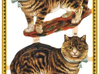 イギリス製クロモス 空色リボンの猫 ラメなし DA-CHE001の画像