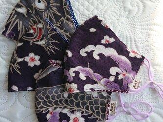 春色・和柄の布マスク『桜に竜』の画像