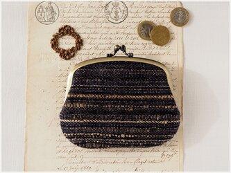 ■手紡ぎ、手織りシルク・ウールの親子がま口財布【ミニマムサイズ】/b ■ lucas (gmi-b)の画像