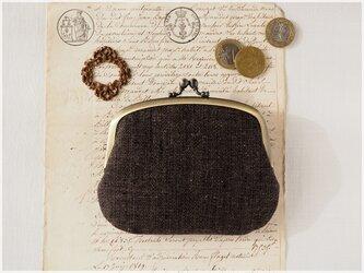 ■手紡ぎ、手織りシルク・リネンの親子がま口財布【ミニマムサイズ】/ae ■ lucas (gmi-ae)の画像