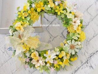 はな笑み 菜の花色 リース:きいろ デージー パンジー マーガレット リボンの画像