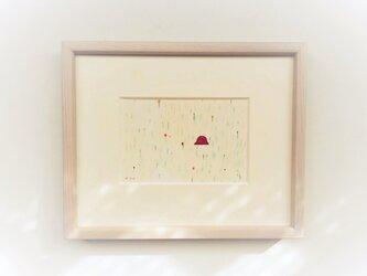 「忘れ物 2」イラスト原画 ※木製額縁入りの画像