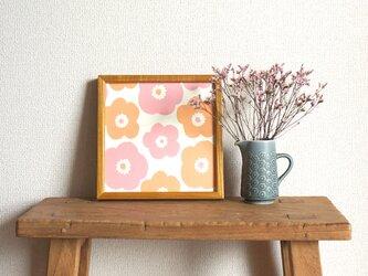 「popy(ピンク&アプリコット)」20cm角ポスターの画像