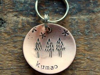 迷子札MD389 素材:銅 直径2.5cm 静かな杉の森の迷子札の画像