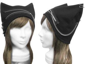 パンク[ジップ&チェーン付] ネコ耳帽子◆コットンニット/ブラックの画像