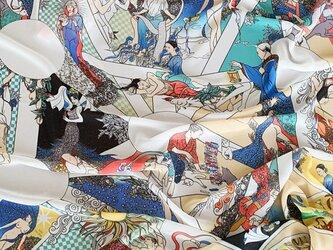 タロットに動物と植物があふれる不思議柄ショール 幅70cmタイプ(コーラルピンク)の画像