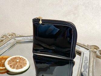 【送料無料】コンパクト L字財布 ミニ 本革 ブラック PVC ダークブラウン ビニールの画像