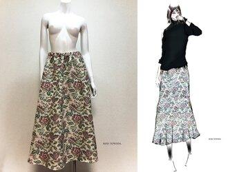 【1点もの・デザイン画付き】ゴブラン織りゆったりロングフレアースカート(KOJI TOYODA)の画像