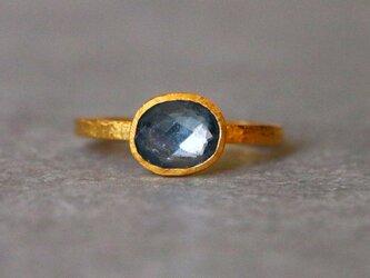 古代スタイル*天然ブルースピネル 指輪*7号 GPの画像