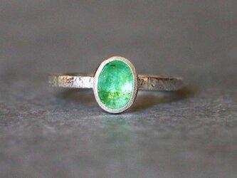 古代スタイル*天然グリーンパライバトルマリン 指輪*7号 SVの画像