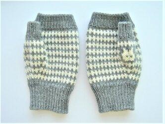 編み込みの指出し手袋 灰色猫の画像