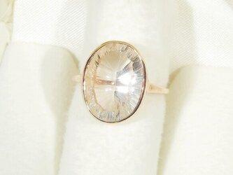 Hi様、オーダー品_6.60ct水晶とSV925の指輪(ブラジル産、ピンクゴールドの厚メッキ、天然石、ふくりん留め)の画像