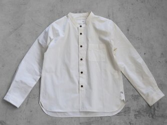 オーガニックコットンバンドカラーコットンシャツ(アイボリー)【ユニセックス】size4の画像