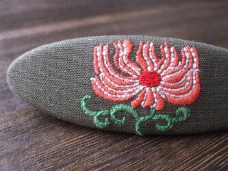 刺繍バレッタ オーバル M 茶の画像