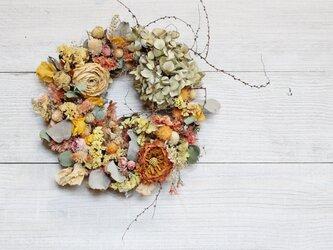 「印象」wreath ラナンキュラスの入ったオレンジ色リース 春リース ドライフラワーリース の画像