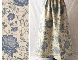 レディのためのシンプルAラインスカート(フレンチシノワ:生成り×ブルー)の画像