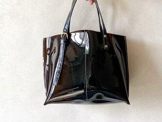 PVC ビニール トートバッグ 本革 ブラック × ダークブラウン 2wayの画像