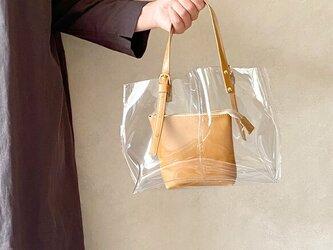 PVC ビニール トートバッグ 本革 キャメル × クリア 2wayの画像