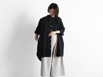やわらかコットンロングシャツ(ブラック)【ユニセックス】004の画像
